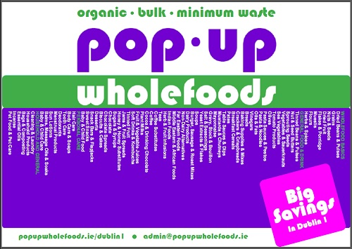 Promotional leaflet for the Pop-Up Wholefoods co-op
